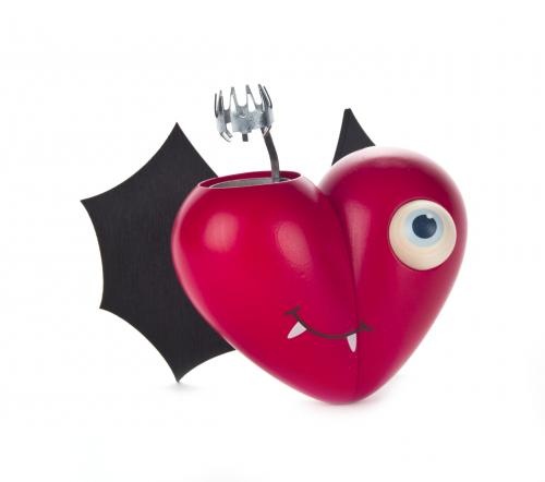 smoking heart with bat wings