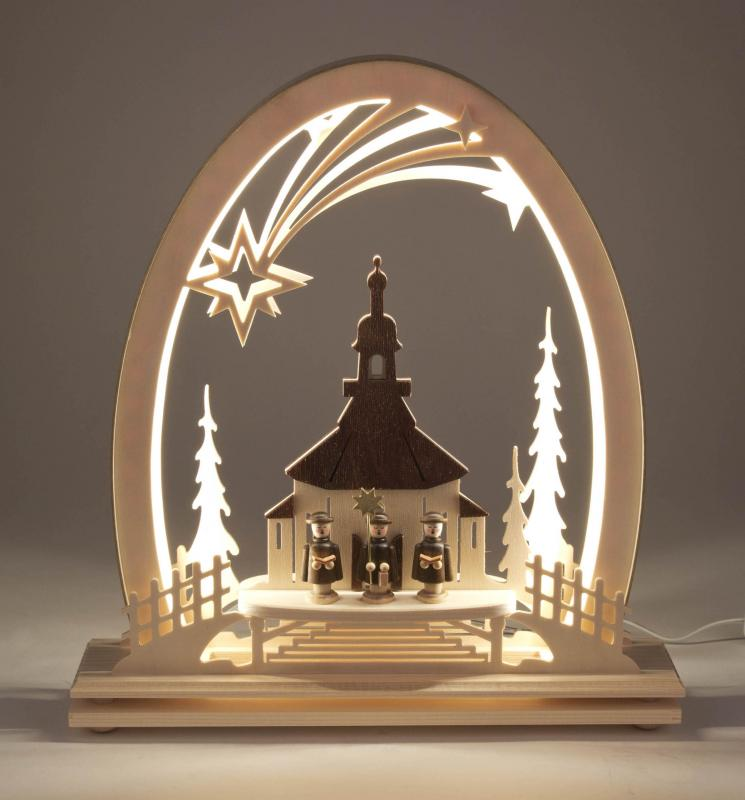 candle arc Seiffen church electric light