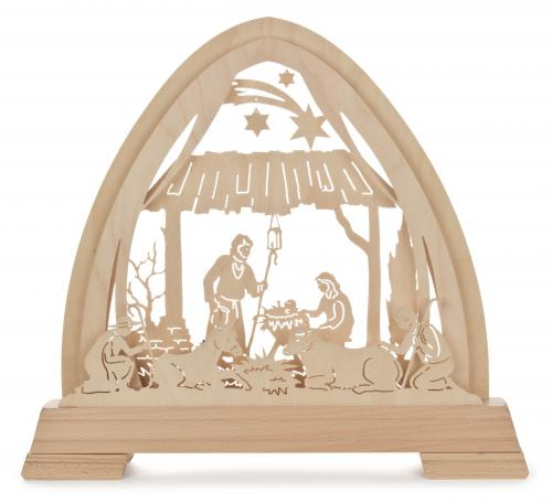 candle arch nativity, electric lights
